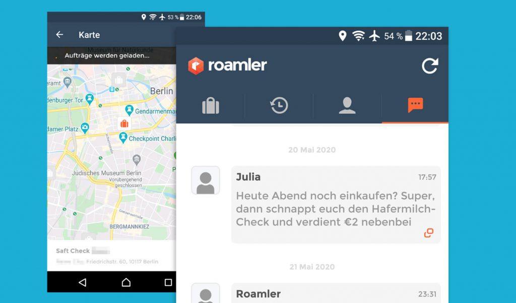 Geld verdienen mit Handy und Roamler App (Bild: artofsmart.de)