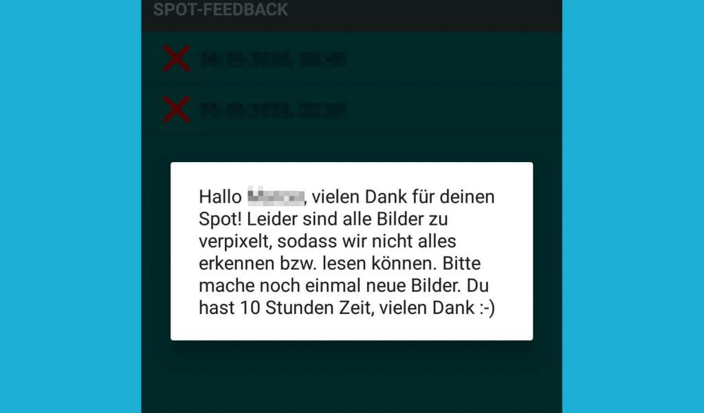 Ablehnung in der Streetspotr App (Bild: artofsmart.de)