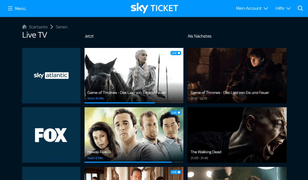 Sky Ticket Entertainment Livestream (Screenshot)