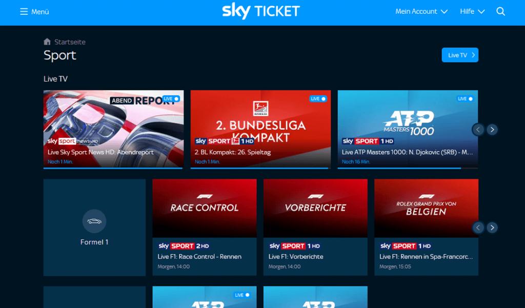 Sky Ticket Sport Live TV (Screenshot)