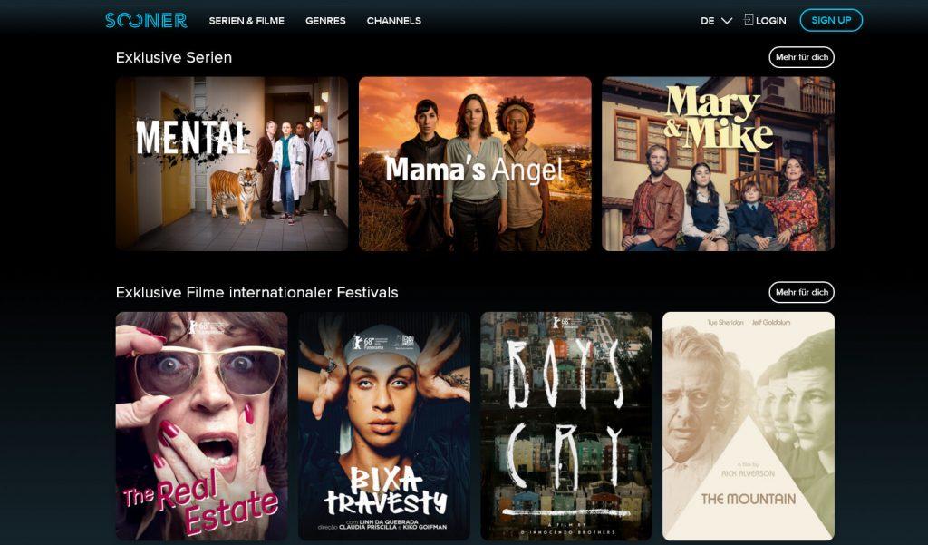 Serien und Filme bei Sooner (Screenshot)