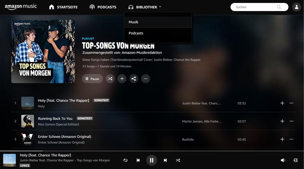 Amazon Music im Browser