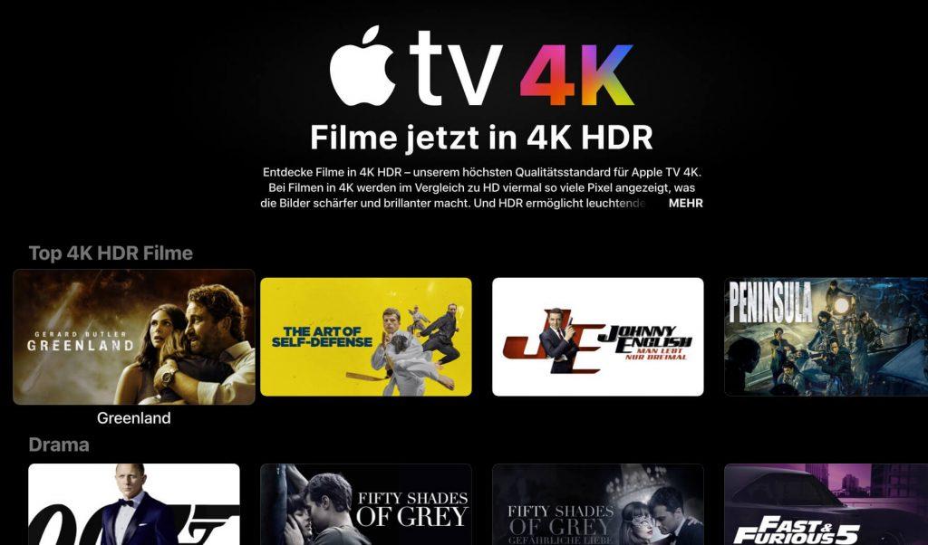 4K Filme bei Apple TV (Screenshot: artofsmart.de)