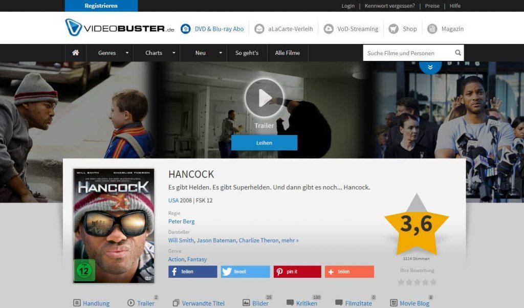 Film auf DVD oder Bluray leihen bei Videobuster (Screenshot)