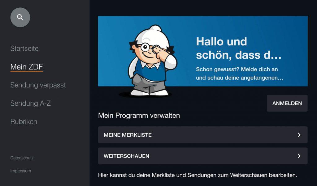 ZDF Mediathek: Anmelden (Screenshot: artofsmart.de)