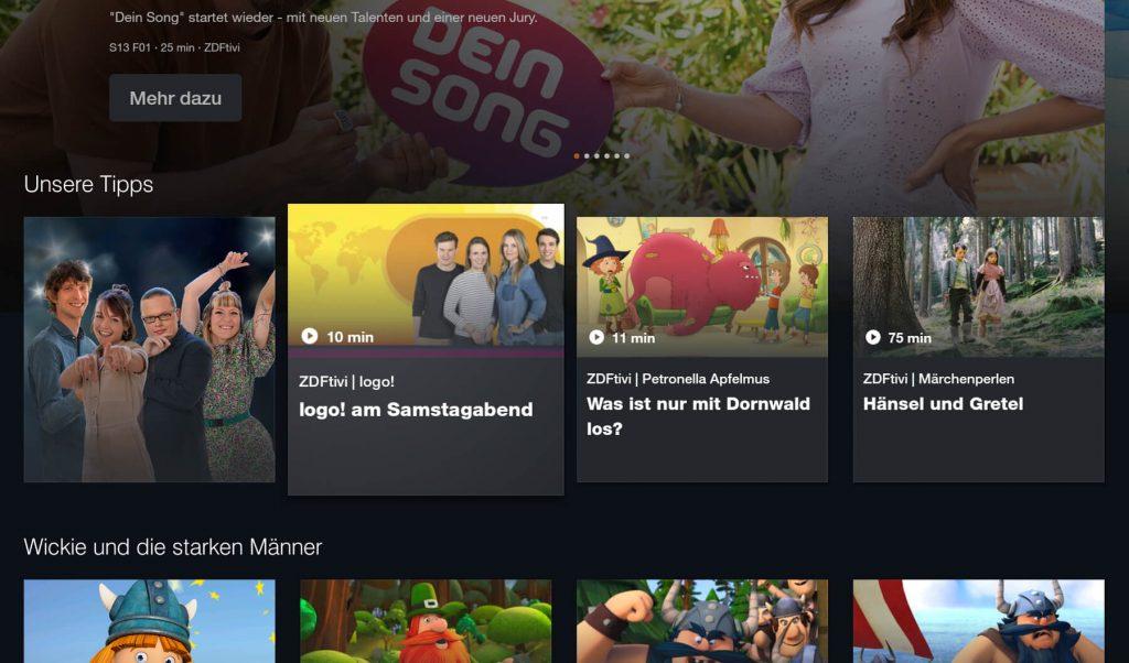 ZDF Mediathek: Kindersendungen (Screenshot: artofsmart.de)
