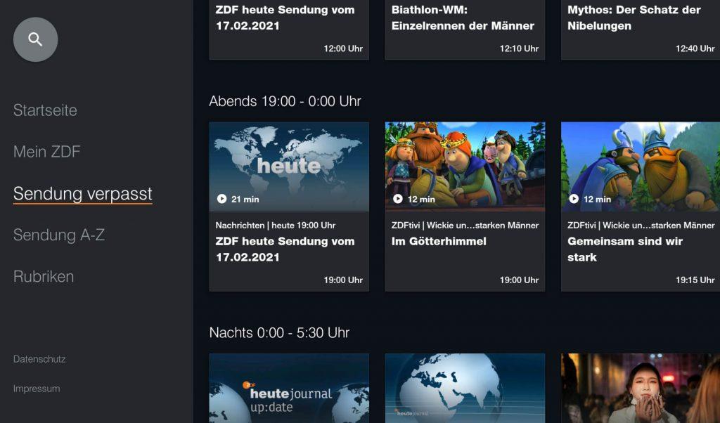 ZDF Mediathek: Sendung verpasst (Screenshot: artofsmart.de)
