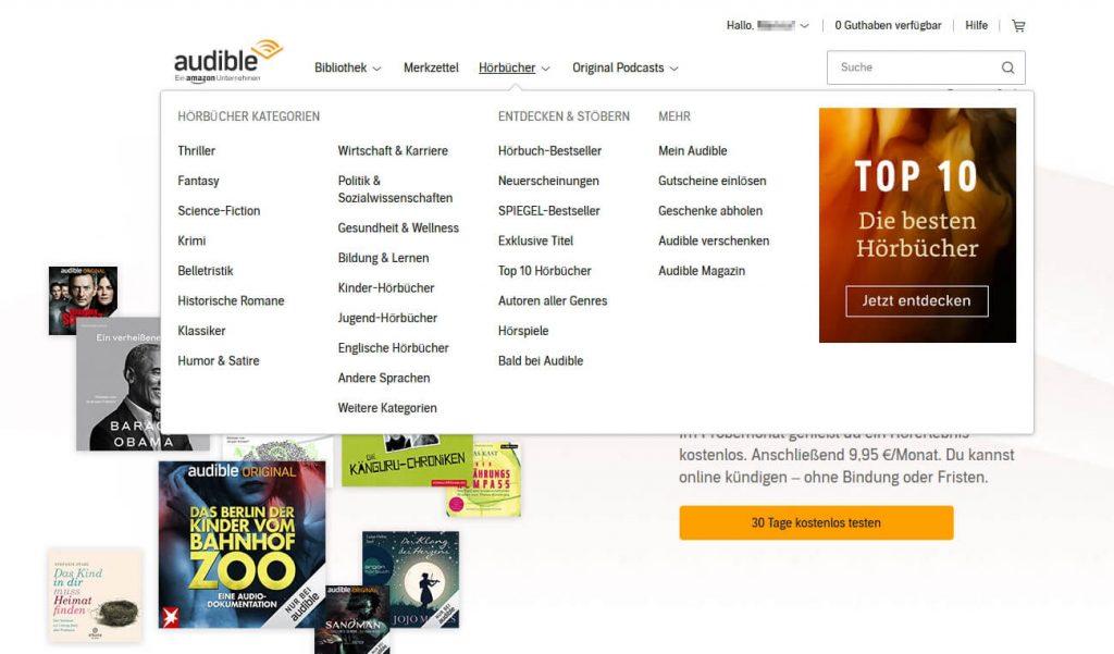 Audible Hörbücher Kategorien (Screenshot: artofsmart.de)
