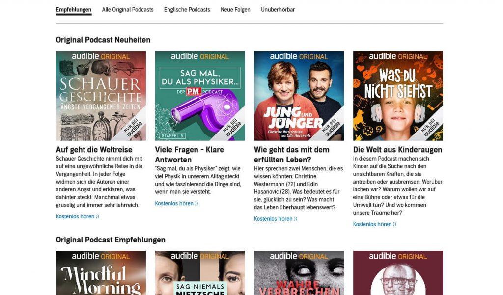 Audible Podcasts (Screenshot: artofsmart.de)