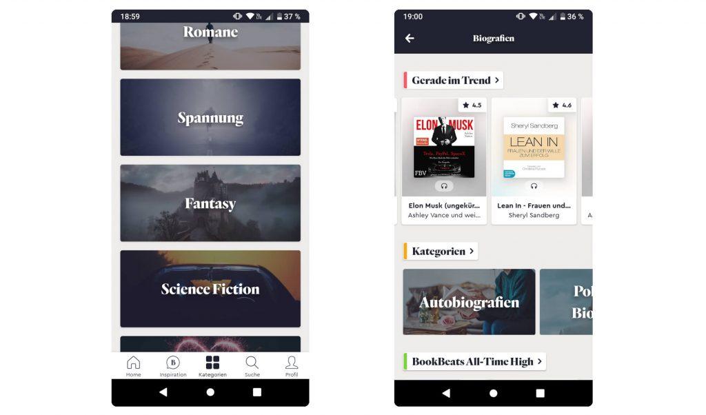 Hörbuch-Rubriken in der BookBeat App (Screenshot: artofsmart.de)