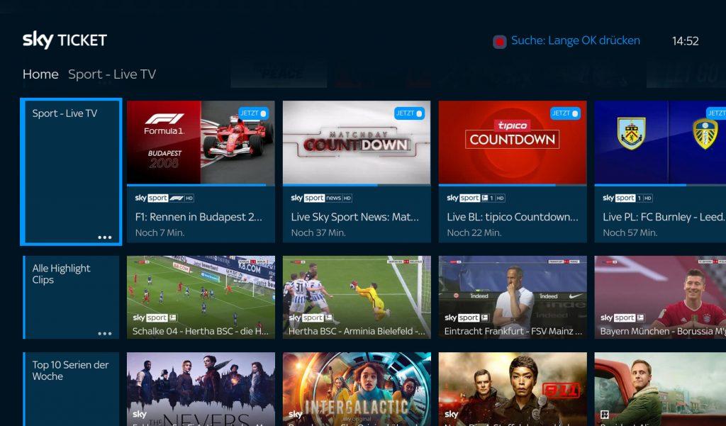 Sky Ticket Sport App auf Fire TV (Screenshot: artofsmart.de)