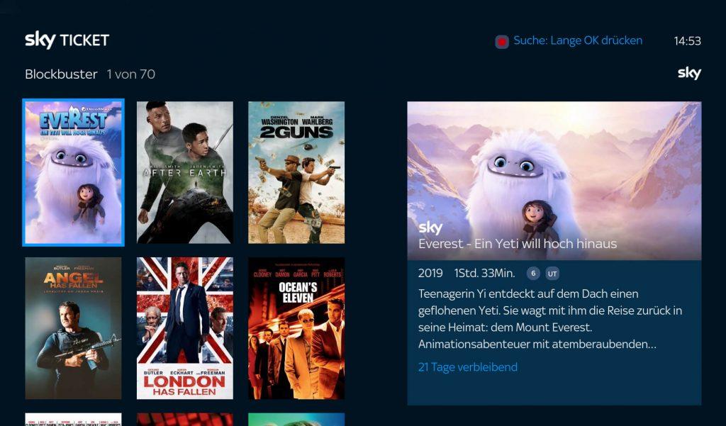 Sky Ticket Filme auf Fire TV (Screenshot: artofsmart.de)