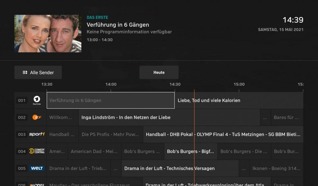 Zattoo Programm-Guide (Screenshot: artofsmart.de)