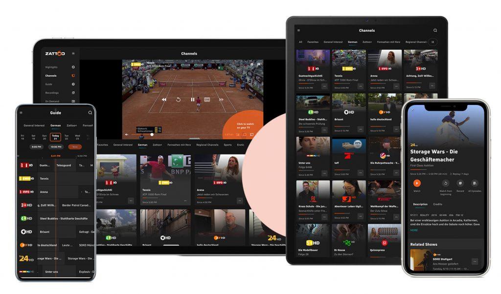 Zattoo Fire TV App: Sender in der Schweiz (Screenshot artofsmart.de)