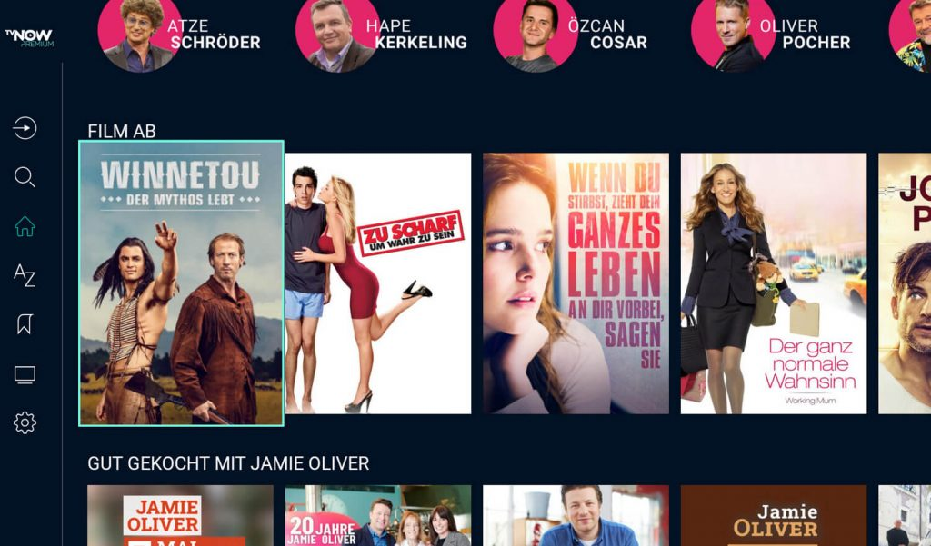 TVNOW Stars (oben) und Filme (Screenshot: artofsmart.de)