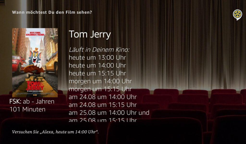 Vorstellungen eines Films im Kinoheld Skill (Screenshot: artofsmart.de)