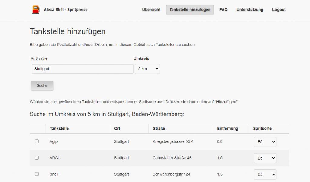 Tankstelle im Alexa-Skill Spritpreise hinzufügen (Screenshot: artofsmart.de)
